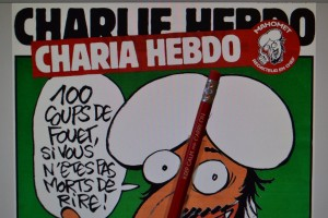 """Charia Hebdo"" cover defaced with a ""Keep Calm and Carry On"" pencil."