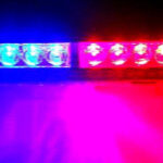 Red and blue police lights bar