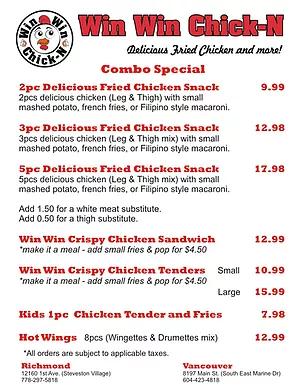 Win Win Chick-N menu